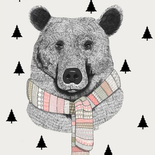 Kaart beer met das A6 Minimel