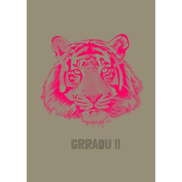 Poster tijger fluorroze, A4 Minimel