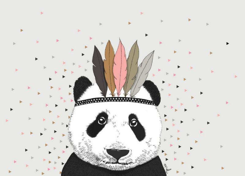 Poster panda driehoekjes A4 formaat Minimel