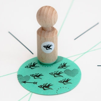 Mini stempel vogeltje, Miss Honeybird