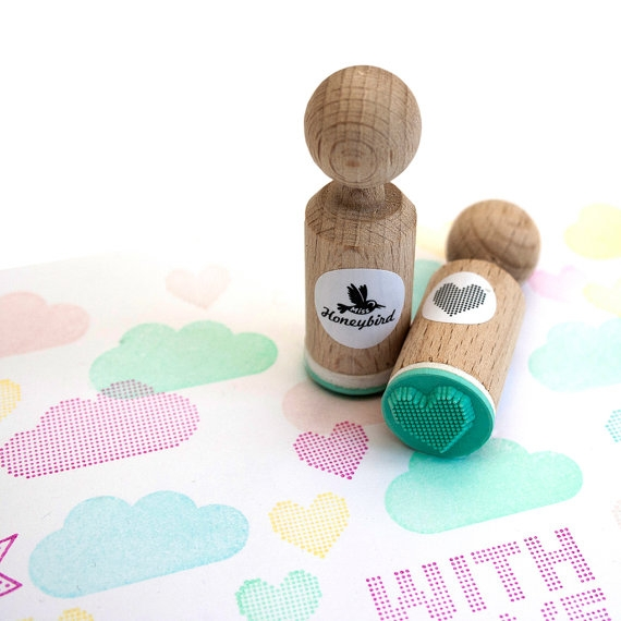 Mini stempel raster hartje Miss Honeybird