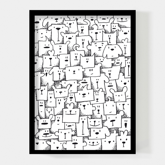 Boxed animals 50x70cm poster Paperfuel