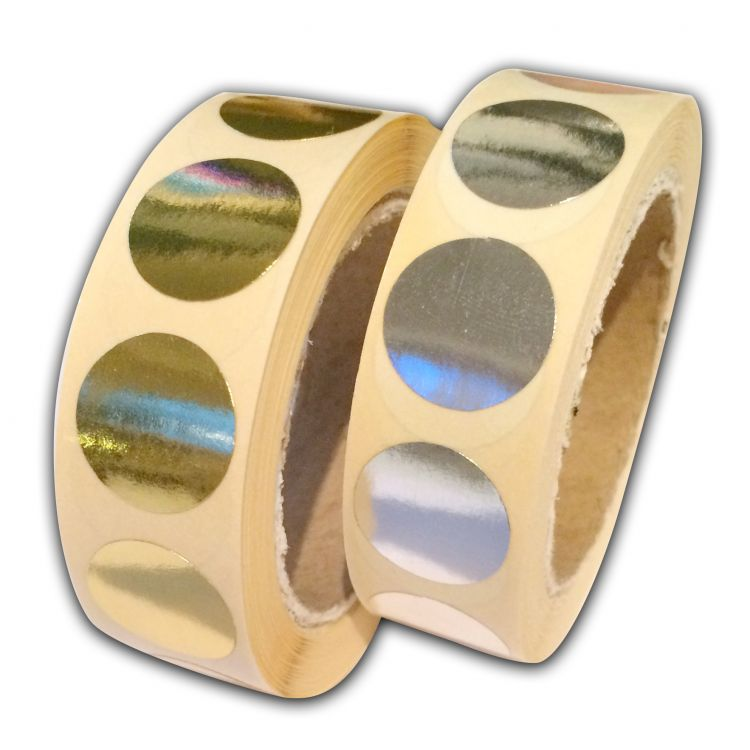 Ronde ministicker zilver of goud