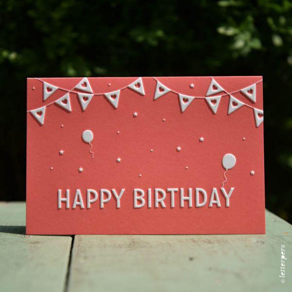 Kaart 'Happy Birthday' warm rose ambachtelijk gedrukt in Letterpers