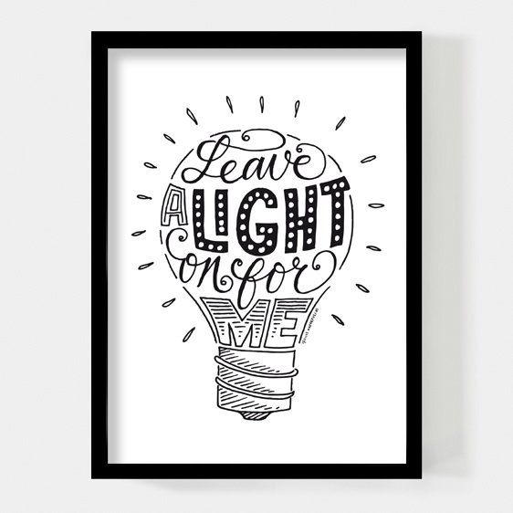 Leave a light on for me, poster A4 Paperfuel