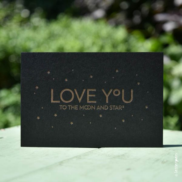 Love you to the Moon and the stars (zwart) Letterpers
