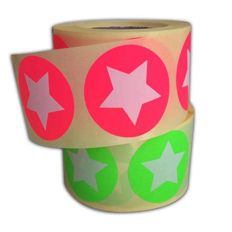 Sticker neonrose/neongroen ster