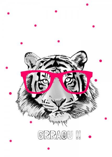 Poster tijger met bril,  A2 Minimel