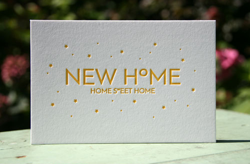 Wenskaart 'New Home' ambachtelijk gedrukt van Letterpers