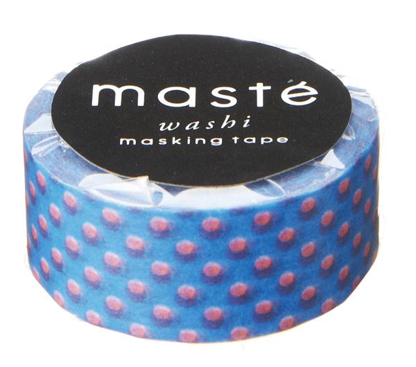 Masking tape neon blauw met rose polkadots