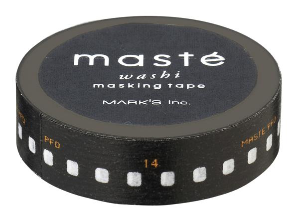 Masking tape in zwart met print negatief