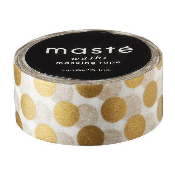 Masking tape in wit met gouden polkadots