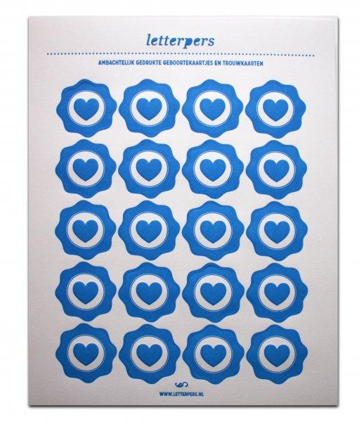 Sticker blauw hart Letterpers