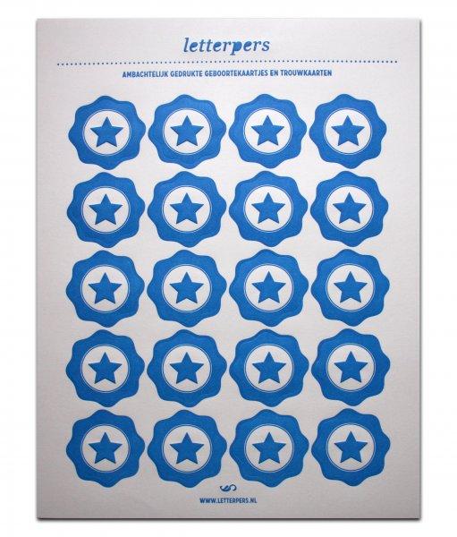 Sticker blauw ster Letterpers