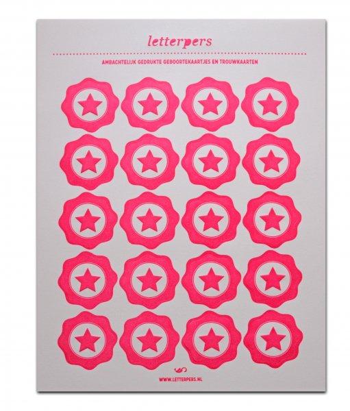Sticker fluorroze ster Letterpers