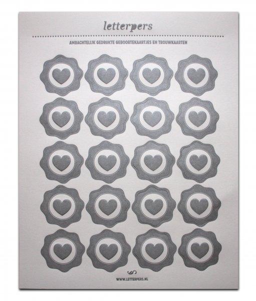 Sticker zilver hart Letterpers