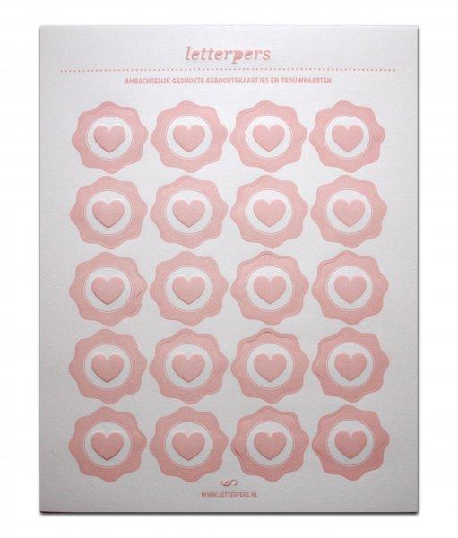 Sticker lichtrose hart Letterpers
