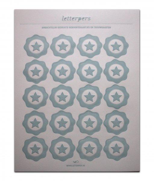 Sticker lichtblauwe ster Letterpers