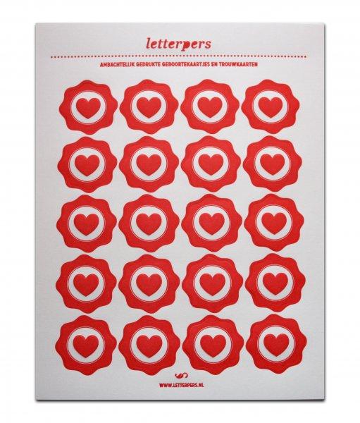 Sticker rood hart Letterpers